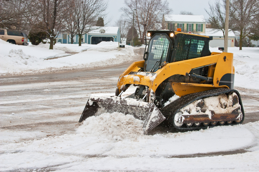 skidsteer snow clearing (background / accent image)